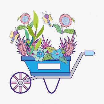 Lente bloemen planten met libellen in de kruiwagen