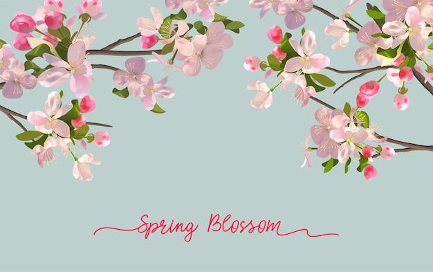 Lente bloesem achtergrond met bloeiende roze bloemen