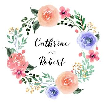 Lente bloesem roze en paarse bloemen aquarel krans