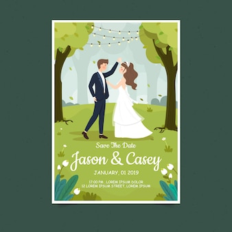 Lente bruiloft paar uitnodigingskaart