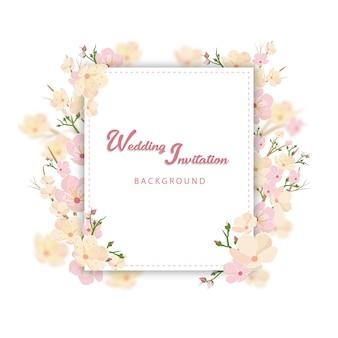 Lente bruiloft uitnodiging achtergrond met kersenbloesem