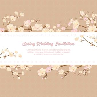 Lente bruiloft uitnodiging in roze kersenbloesem ornament