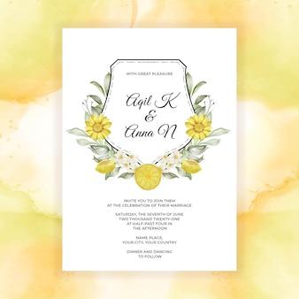 Lente citroen bloem aquarel bruiloft uitnodiging Gratis Vector