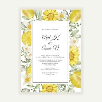 Lente citroen bloem aquarel bruiloft uitnodiging