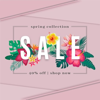 Lente collectie verkoop ontwerp met kleurrijke bloemen