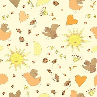 Lente doodles set met bloemen, zon, vogels - naadloos patroon