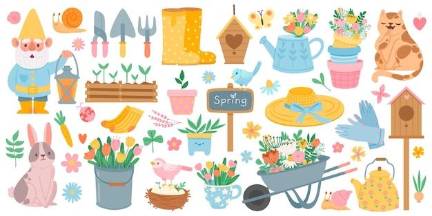 Lente elementen. bloeiende bloem, schattige dieren en vogels. lente tuindecoratie, vogelhuisje, gereedschap en planten, getekende cartoon vector set. kruiwagen met tulpen, bladeren, laarzen