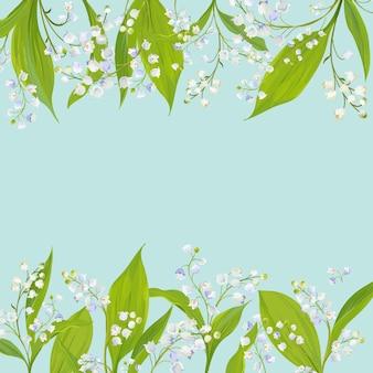 Lente en zomer bloemen frame voor vakantie decoratie. bruiloft uitnodiging, wenskaartsjabloon met bloeiende lily valley bloemen. vector illustratie