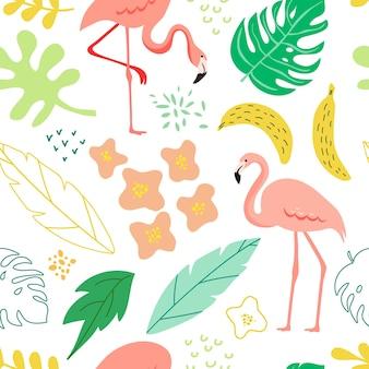 Lente en zomer naadloze achtergrond met flamingo, tropische planten, bladeren, bloemen voor patroon, spandoek, wenskaart, poster, dekking. vectorillustratie