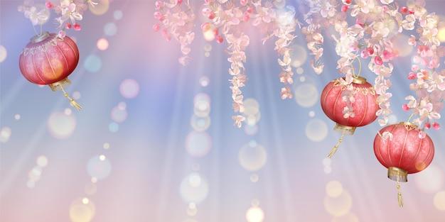 Lente festival achtergrond met kersenbloesem, vliegende bloemblaadjes en oosterse lantaarns