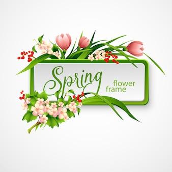 Lente frame met bloemen. illustratie