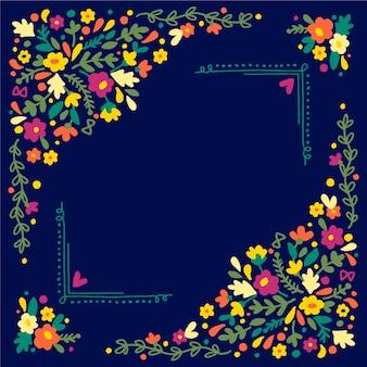 Lente frame met kleurrijke bloemen