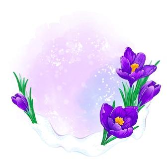 Lente frame voor tekst of foto met paarse krokussen en aquarel textuur. bloemdessin.