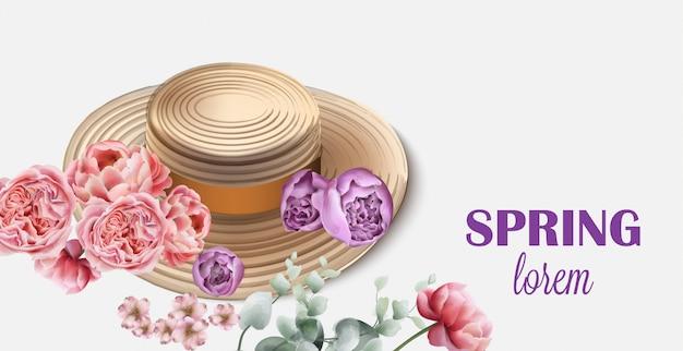 Lente hoed met bloemen