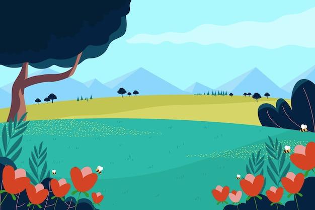 Lente kleurrijke landschap concept