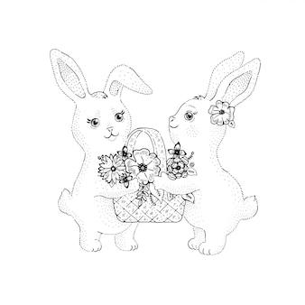 Lente konijnen met bloemmand in leuke schetsstijl.