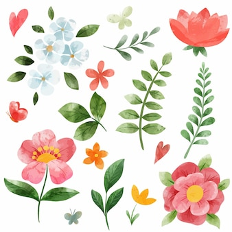 Lente koraalroze bloemen set. hand getekend aquarel illustratie.