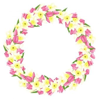 Lente krans van narcissen en tulpen