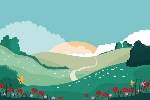 Lente landschap concept