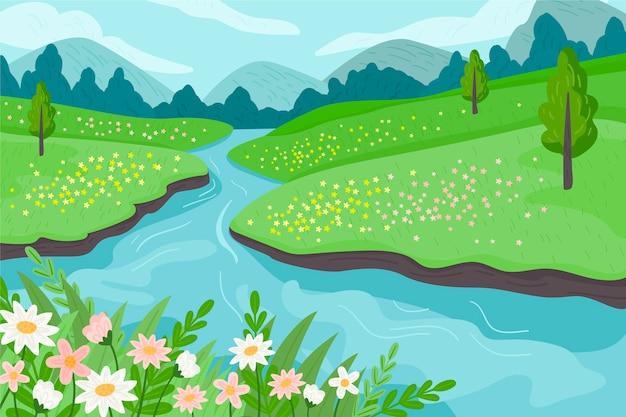 Lente landschap in plat ontwerp