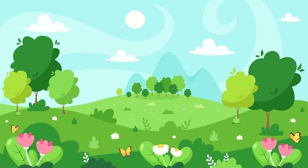 Lente landschap met bomen afbeelding ontwerp