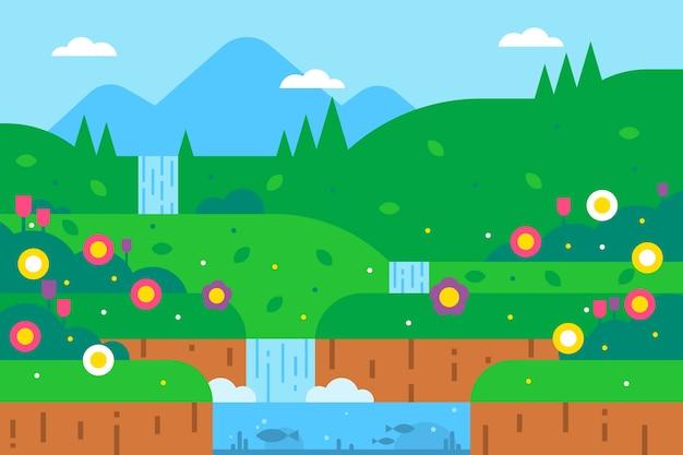 Lente landschap met groen en waterval