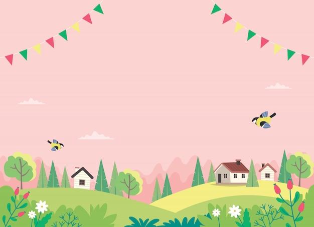Lente landschap met huizen, velden en natuur.