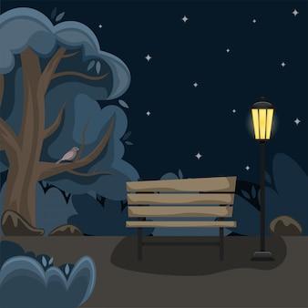 Lente landschap. steegje in het park met een bankje in de nacht.