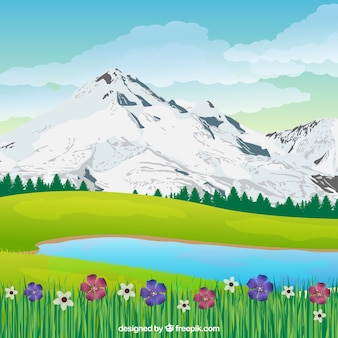Lente landschapsachtergrond in realistische stijl