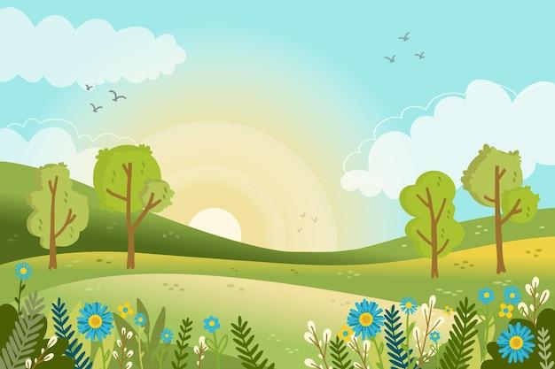 Lente landschapsscène