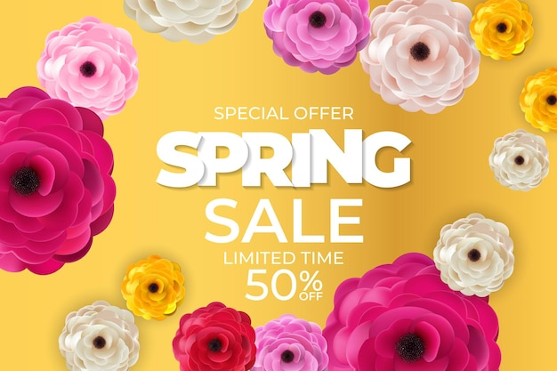 Lente levendige verkoop banner natuurlijke bloemen sjabloon.