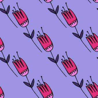 Lente naadloze bloemmotief met tulp silhouetten in roze tinten op blauwe baclground. decoratieve eenvoudige achtergrond.