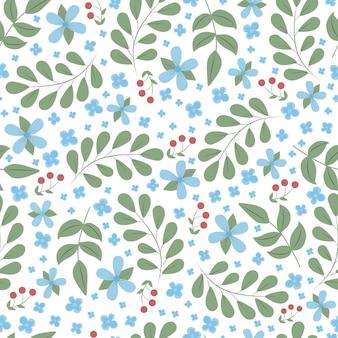 Lente naadloze bloemmotief met vergeet me niet blauwe bloemen en laat rode bessen op wit