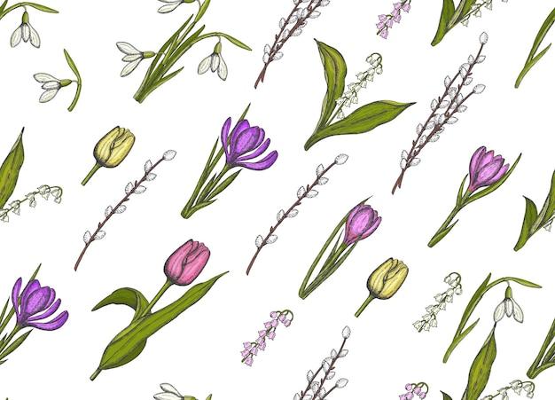 Lente naadloze patroon met hand getrokken bloemen lelies van de vallei