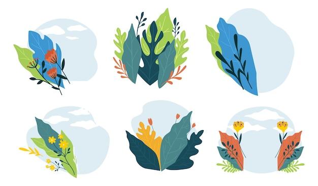 Lente of zomer bloeiende bloemen en bladeren, geïsoleerde ornamenten en versiering tropische en exotische plantkunde. wens- of uitnodigingskaartontwerp met bladboeketmotieven. vector in vlakke stijl