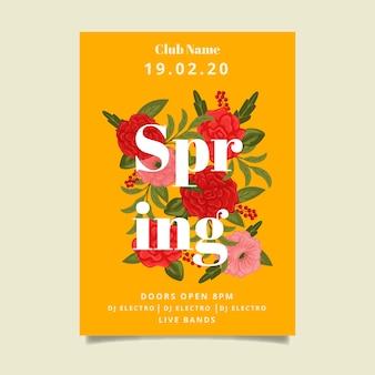 Lente partij bloemen poster sjabloonontwerp
