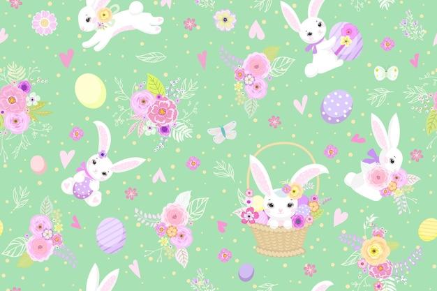 Lente pasen achtergrond met schattige konijntjes, eieren en bloemen voor behang en stof design. vector illustratie