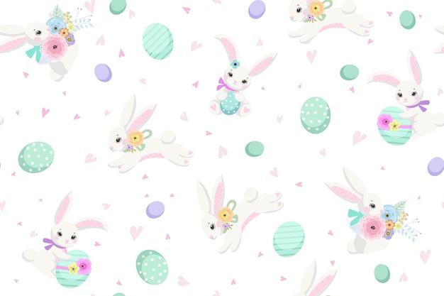 Lente pasen achtergrond met schattige konijntjes, eieren en bloemen voor behang en stof design. vector illustratie Premium Vector