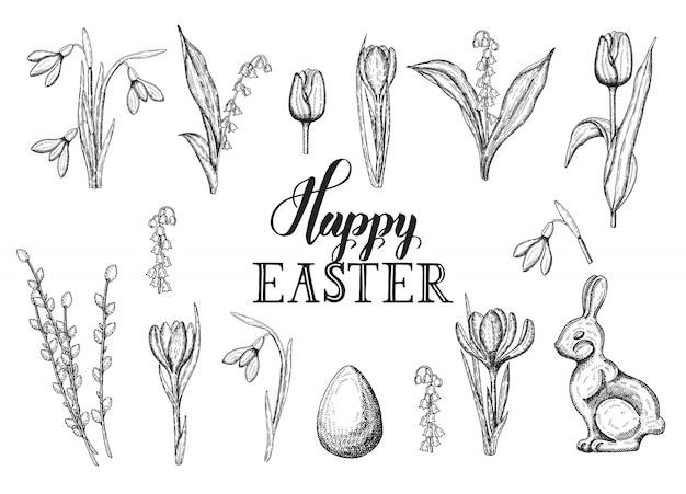 Lente pasen set met hand getrokken doodle paasei, chocolade konijn, lelietje-van-dalen, tulp, sneeuwklokje, krokus, wilg. hand gemaakt belettering - happy easter