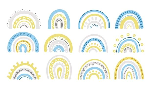 Lente pastel regenboog in blauwe en gele clipart set