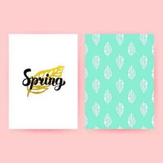 Lente pastel retro poster. vectorillustratie van trendy patroonontwerp met handgeschreven letters.