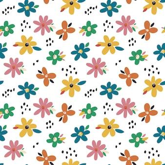 Lente patroon met kleurrijke bloemen