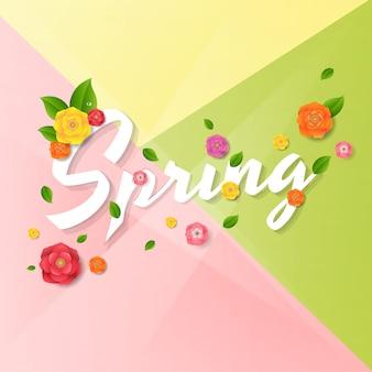 Lente poster met bloemen Premium Vector