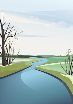 Lente rivierlandschap