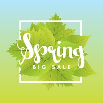 Lente sale poster met groen blad. vector banner sjabloon illustratie.