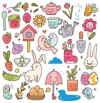 Lente seizoen kawaii doodle set