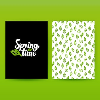 Lente tijd groene poster. vectorillustratie van patroonontwerp met handgeschreven letters.