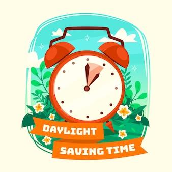 Lente tijd verandering illustratie met klok