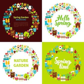 Lente tuin platte cirkels. vectorillustratie van natuurobjecten.