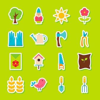 Lente tuin stickers. vector illustratie vlakke stijl. verzameling van seizoensgebonden natuursymbolen.